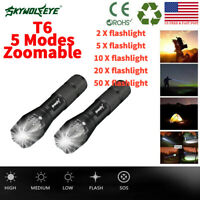 90000LM Tactical 5 Modes LED 18650 Flashlight Zoomable Torch Aluminum Lamp LOT