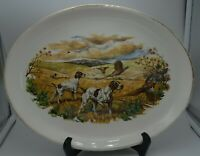 Vintage Sabin 22k USA Hunting Pointer Dogs & Pheasants Platter Plate Rare 13.25