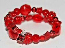 CRIMSON RED beads ~ Handmade Beaded Wrap Bracelet ~ Perfect Gift!