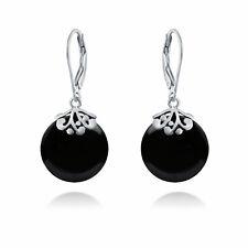 Black Onyx Gemstone Round Disc Filigree Drops Dangle Earrings Sterling Silver