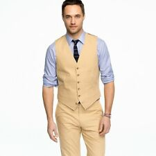 J.Crew Ludlow Italian Chino Suit Vest in Wheat Size XL 100% Cotton Crespi Mill