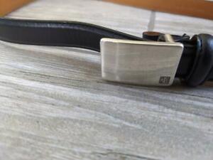 RLL black leather RALPH LAUREN womens belt M buckle SLIM skinny