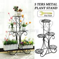 5 Tier Metal Plant Stand Holder Flower Pot Shelf Rack Home Garden In/Outdoor !
