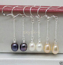 3pairs Natural pearl white pink black pearl Dangle earring silver hook AAA