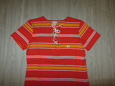 Vintage Hang Ten Charlie Girls Inc. Striped Gold Feet Retro Womens T-Shirt L Lg