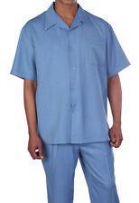 Men's 2pc Walking Suit Short Sleeve Casual Shirt & Pants Set Solid color 2954