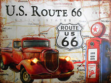 Route 66, Retro Vintage sign Car Garage De Aluminio Cueva de hombre