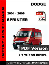 DODGE SPRINTER 2001 2002 2003 2004 2005 2006 SERVICE REPAIR WORKSHOP MANUAL