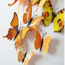 12pcs 3d Mariposa pegatina Arte Mural De Pared puerta calcomanías Decoración Del Hogar-Amarillo