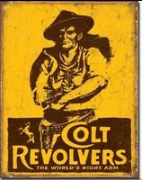 Colt Revolvers World's Right Arm Gun Distressed Retro Vintage Metal Tin Sign New