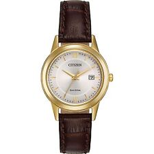Ladies Citizen Eco-Drive Square Light Brown Leather White Dial Watch EM0492-02A