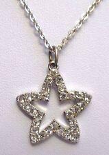 pendentif chaîne collier Bijou Vintage étoile couleur argent cristaux diamant 29