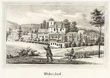 WEHRSDORF (SOHLAND AN DER SPREE) - Teilansicht mit Kirche - Lithografie 1840
