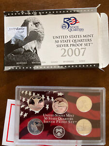 United States Mint 50 State Quarters Silver Proof Set 2007 Montana, Wyoming, Etc