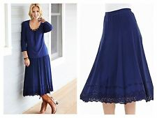 SIMPLY BE Size 12 Dark Navy Broderie Hem 30 inch MIDI SKIRT Holiday Summer £22