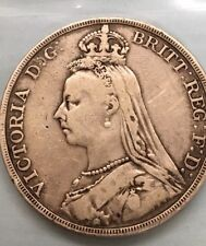 1890 Great Britian Crown Queen Victoria St George Horse Dragon Silver Coin