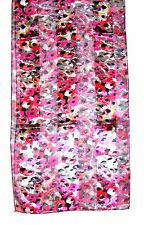 SCARF Long Red Fuchsia Pink Lime Gray Black Flowers ABSTRACT FLORAL