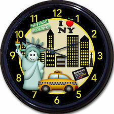 New York NYC Statue of Liberty Wall Clock Times Square Broadway Taxi Subway 10""
