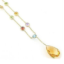 14K Yellow Gold Multi Color Gemstone Necklace With A Pear Shape Drop 16 Inches