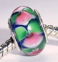 Blue Pink Green Colorful Murano Glass Bead for Silver European Charm Bracelets