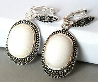 """Genuine White Mother of Pearl Shell 925 STERLING SILVER EARRINGS 1 1/2"""""""