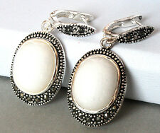 Genuine White Mother of Pearl Shell 925 STERLING SILVER EARRINGS 1 1/2""