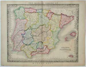 Antique Map of Spain and Portugal Balearic Minorca c1840 Betts The London Series