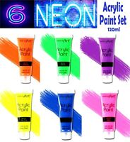 6 x Tubes Of Mixed Neon Acrylic Paint Assorted Colours Artist Paints Craft 120ml