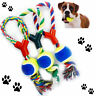 Dog Ball Rope Tennis Pet Play Throw Tugger LARGE Fetch Chew Bite Train Puppy