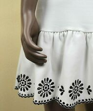Authentic Valentino Red Mini Dress Black Floral Embroidery Ruffle S M White