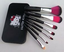 black Hello Kitty Makeup Foundation Eyeshadow Eyeliner Cosmetic Brush Set 7 pcs!