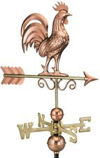 Weathervane Rooster Single Point Contact Design Roof Mount Pure Copper Finish