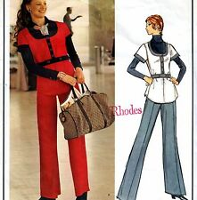 PARIS ORIGINAL Vintage 70s EMANUEL UNGARO PANTS SUIT Sewing Pattern SMALL SIZE