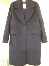 H&M Dark Blue Wool-Blend Coat Size 12 EUR 38 BNWT