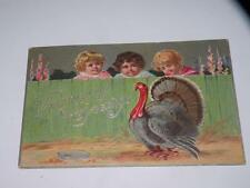 ANTIQUE THANKSGIVING GREETINGS postcard children looking at turkey over fence