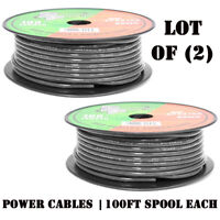 Lot of (2) NEW Pyramid RPB8100 8 Gauge Black Ground Wire OFC 100FT Each Spool