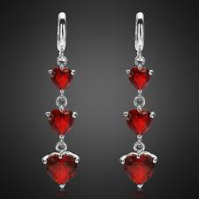Lady Gift Heart Cut Garnet White Gold Gp Earrings Ruby Fashion Jewelry