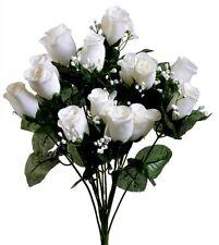 14 Cream Rose Bud Silk Wedding Flowers Bouquet Centerpiece Artificial Decoration
