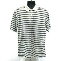 Callaway Golf Polo Shirt Mens Size M Medium White Blue Striped Short Sleeve