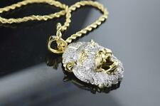 Mens Brass Yellow Gold Finish Hip Hop Mini Lion Head Iced out Pendant with Chain