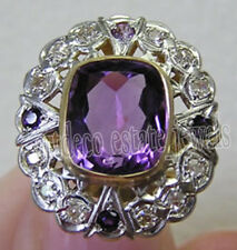 Victorian Look 925 Silver Cocktail Ring 0.85ct Rose Cut Diamond Amethyst Antique