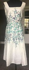 Laura Ashley Sz 14 Ivory Floral Dress Summer A Line Wedding Cruise Races Cotton