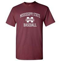 Mississippi State Bulldogs Arch Logo Baseball T-Shirt - Maroon
