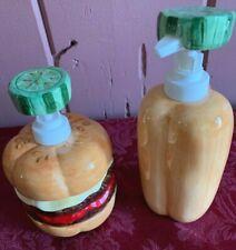 Vintage Ketchup & Mustard Dispenser Porcelain Lotus - Hot Dog and Hamburger
