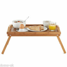 VonHaus Wooden Bamboo Food Serving Breakfast in Bed Lap Tray Folding Legs
