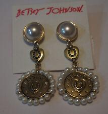 Betsey Johnson Lucky Charms Double Drop Horseshoe Heart Liberty Pearl Earrings