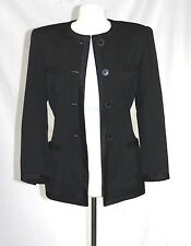 Escada Margaretha Ley- 34 (XS) - Solid Black Satin Trim Military Tuxedo Jacket