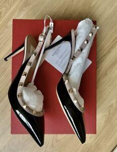 LIMITED TIME VALENTINO BLACK Rockstud Slingback Shoes 85mm. BRAND NEW, UK SIZE 6