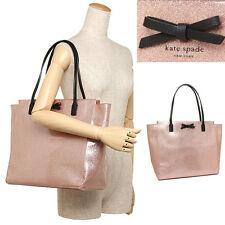 New Kate Spade taden Mavis Street Large Tote Bag Rose Gold Glitter Shoulder Bag