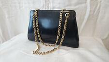 "Handbag worn shoulder ""leather Navy blue"" Years 1970/80"